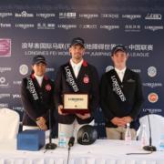 Im Foto von links, nach rechts: die zweitplatzierte Raena Leung (HKG), Patrick Lam HKG, Simon Buckley (GBR)
